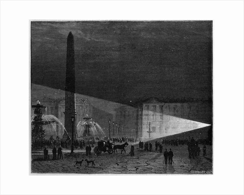 Illustration of the Debut of Electric Lighting in Place de la Concorde by Corbis