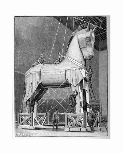 Illustration of Set Builders Working on a Trojan Horse by Corbis