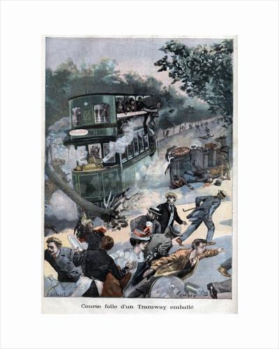 Illustration of a Runaway Tram in Paris by Corbis