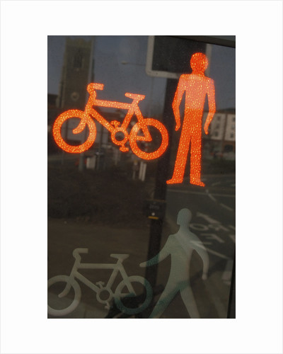 Red Cycle and Pedestrian Signal by Corbis