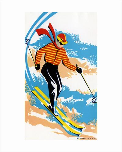 Broom Label of Skier on Ski Slope by Corbis