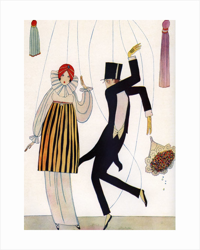 Illustration of Fashionable Couple as Marionettes by Corbis