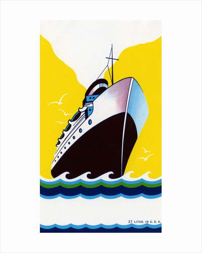 Broom label of Cruise Ship with Stylized Waves by Corbis
