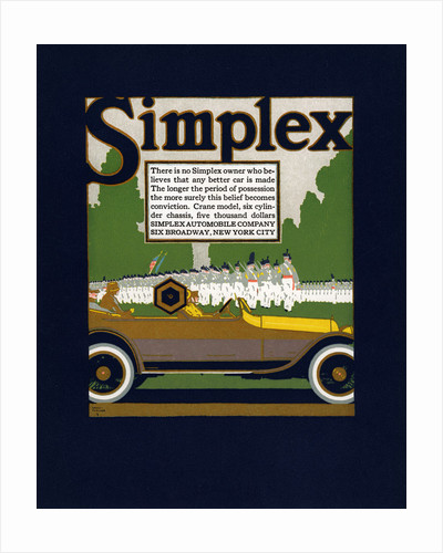 Advertisement for Simplex Automobiles by Louis Fancher