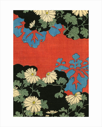 Illustration of Red and Black Design with Daisies by Corbis