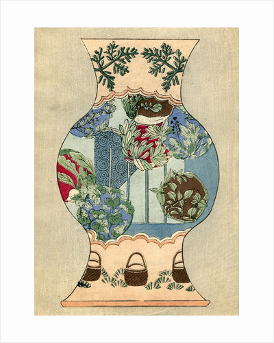 Illustration of Japanese Vase Design with Baskets and Foliage by Corbis