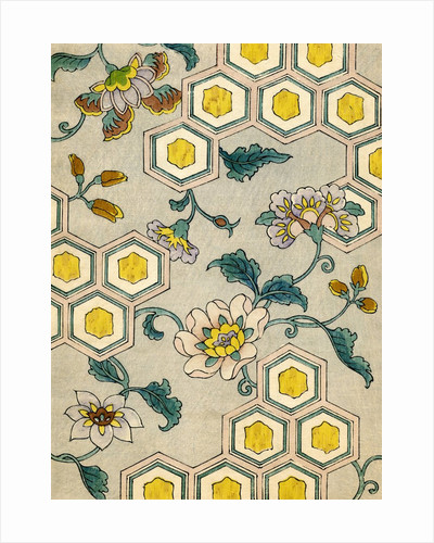 Illustration of Blossoms on a Yellow and Grey Honeycomb Background by Corbis