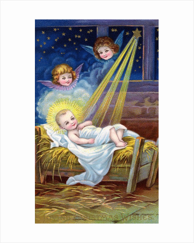 Loving Christmas Wishes Postcard with Christ Child in Manger by Corbis