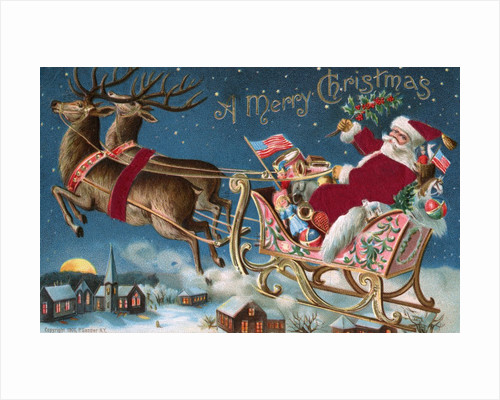 A Merry Christmas Postcard with Santa in His Sleigh by Corbis