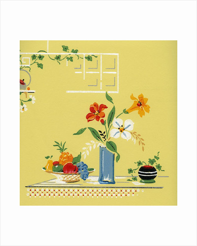 Lithograph of Flowers and Fruit on a Table by Corbis
