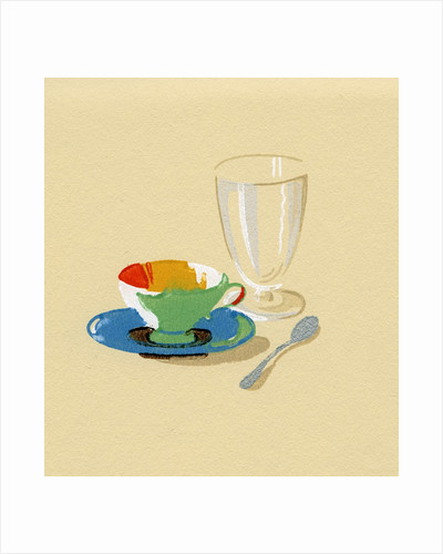 Lithograph of Cup, Saucer and Empty Glass by Corbis