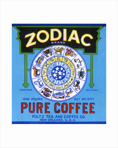 Zodiac Brand Pure Coffee Product Label by Corbis