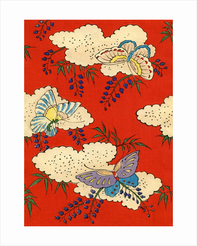 Illustration of Butterflies on Red and White Background by Corbis