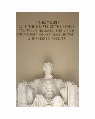 Statue and Inscription at Lincoln Memorial by Corbis
