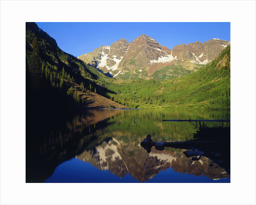 Maroon Bells Reflecting onto Lake by Corbis