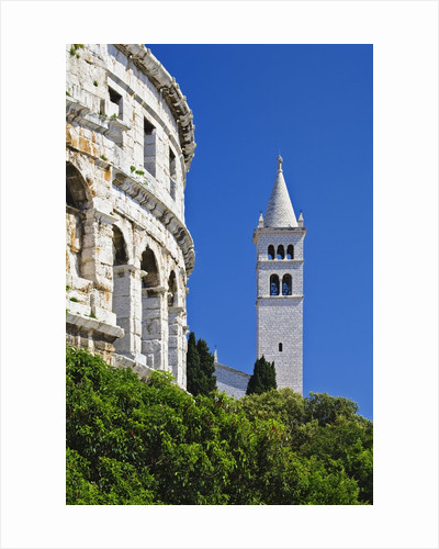 Roman Amphitheater and Church Bell Tower in Pula by Corbis