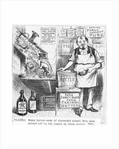 Illustration of Man Selling Adulterated Oleomargarine as Pure Butter by Corbis