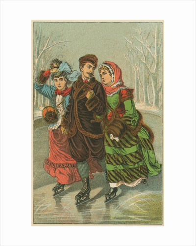 Victorian Print of Three People Ice Skating by Corbis