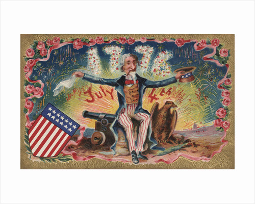 Fourth of July Postcard with Uncle Sam by Corbis