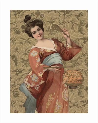 Postcard of Geisha Holding Lantern by Corbis