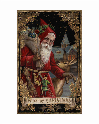 A Happy Christmas Postcard with Santa and Deer by Corbis