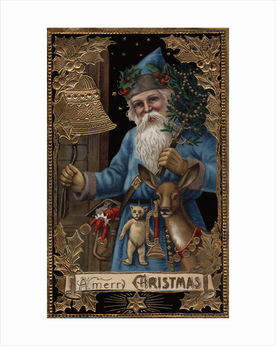 A Merry Christmas Postcard with Santa Ringing Bell by Corbis