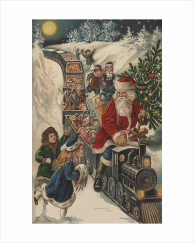 Christmas Postcard with Santa Riding a Train with Toys by Corbis