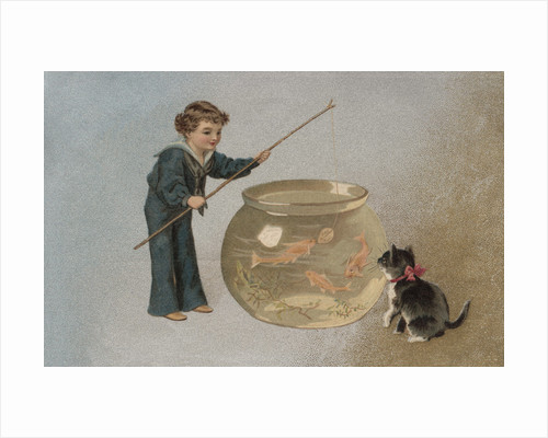 Postcard of Boy Fishing in Fishbowl by Corbis