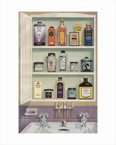 Illustration of Medicine Cabinet Filled with Watkins Products by Corbis