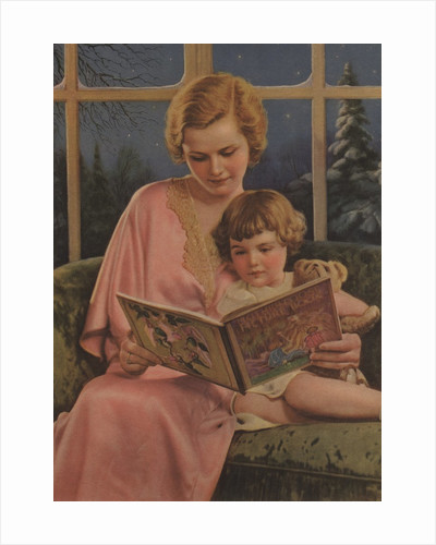 Illustration of Mother and Daughter Reading by Corbis