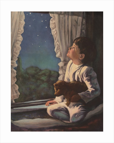 Illustration of Boy Looking at Night Sky by Corbis
