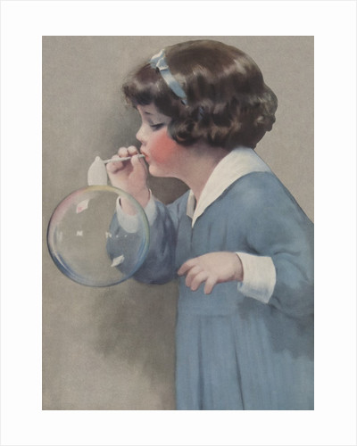 Illustration of Young Girl Blowing a Bubble by Bessie Pease Gutmann