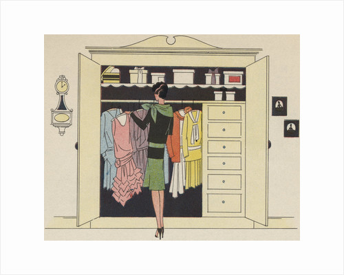 Illustration of Woman Selecting Outfit by Corbis