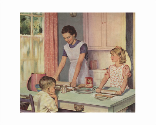 Illustration of Mother and Daughter Baking Together by Douglass Crockwell