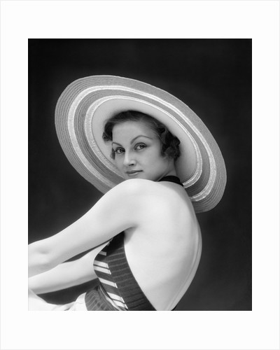 1930s Woman Wearing Halter Top and Straw Hat by Corbis