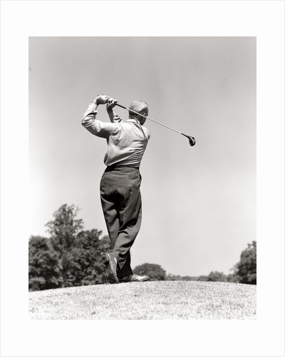 1940s 1950s Man Playing Golf Teeing Off Swinging Driver Club by Corbis