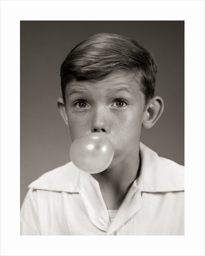 1940s 1950s Young Boy Blowing Bubble Gum Bubble by Corbis