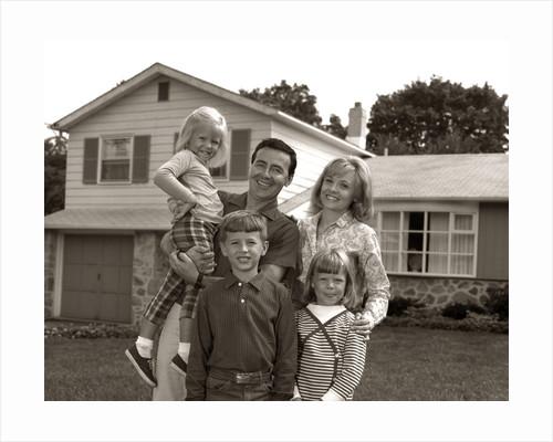 1960s Family Portrait Outside Suburban House Parents 3 Three Kids by Corbis