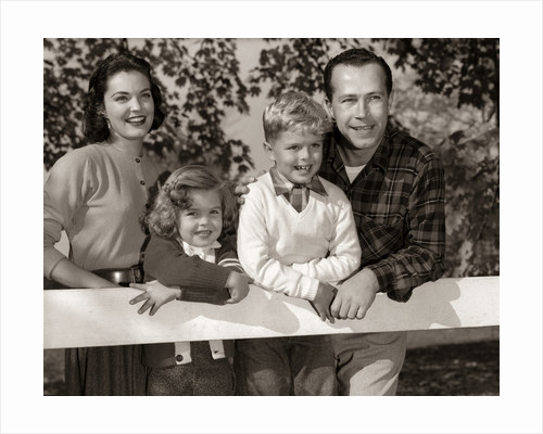 1950s Family Outside Mother Father Son Daughter by Corbis