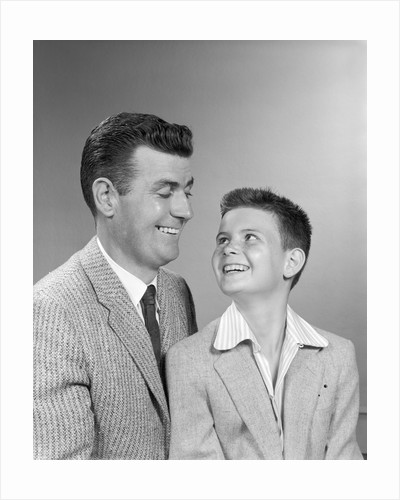 1950s Father At Son Studio Portrait by Corbis