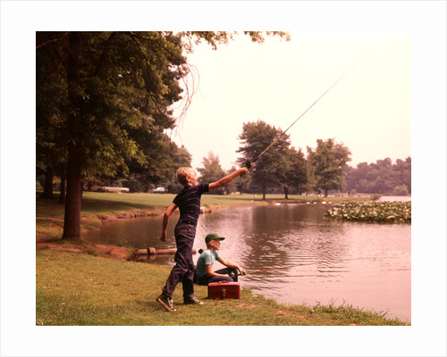 1960s 1970s Boys Fishing Casting Casting Into Pond by Corbis