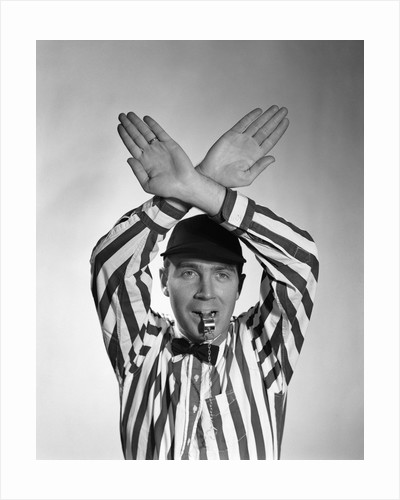 1950s Football Referee Making Hand Signal Time Out Blowing Whistle by Corbis