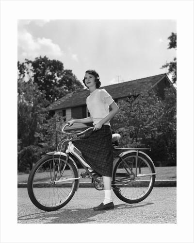 1950s Teen Girl Standing With Bike by Corbis