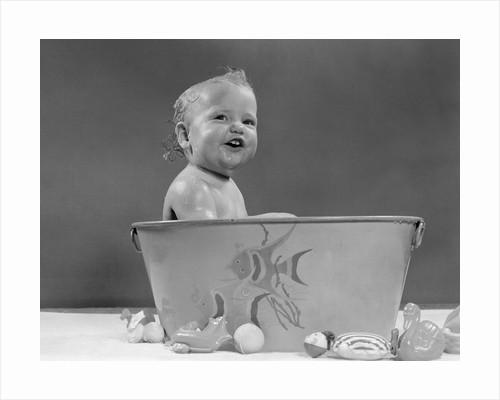 1940s 1950s Baby In Bath Tub Studio Indoor by Corbis