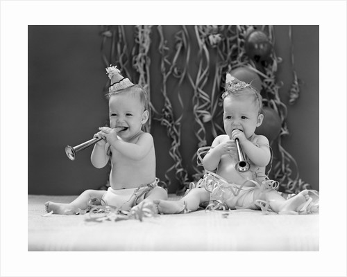 1940s Twin Babies With Party Hats Horns And Paper Streamers New Year Celebration Studio by Corbis