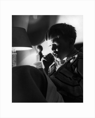 1950s 1960s Boy Bed Cold Night Coughing Sneezing Cough by Corbis