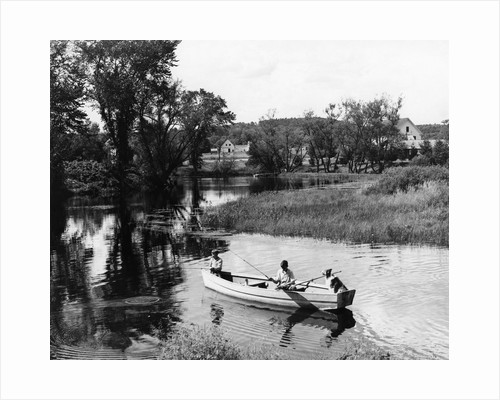 1940s 1950s Pair Of Boys In Rowboat With Collie Fishing In Farm Area by Corbis