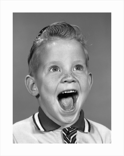 1960s Portrait Excited Boy With Mouth Wide Open Laughing by Corbis