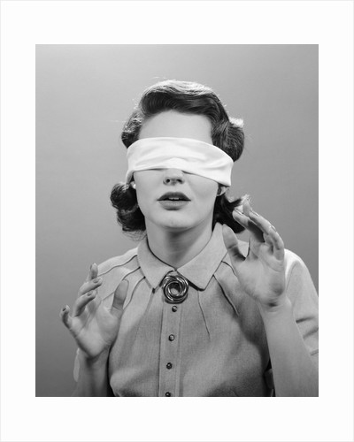 1950s Woman Blindfolded by Corbis