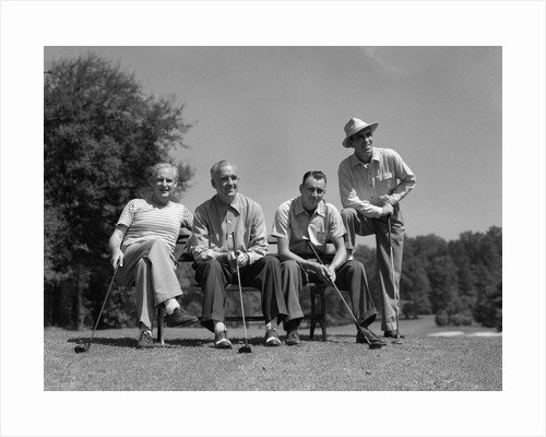 1940s 1950s Foursome Of Men Playing Golf Sitting Waiting To Tee-Off by Corbis